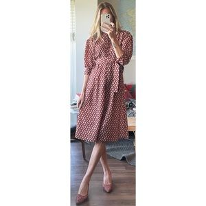 Vintage Inspired Feather Button Up Prairie Dress